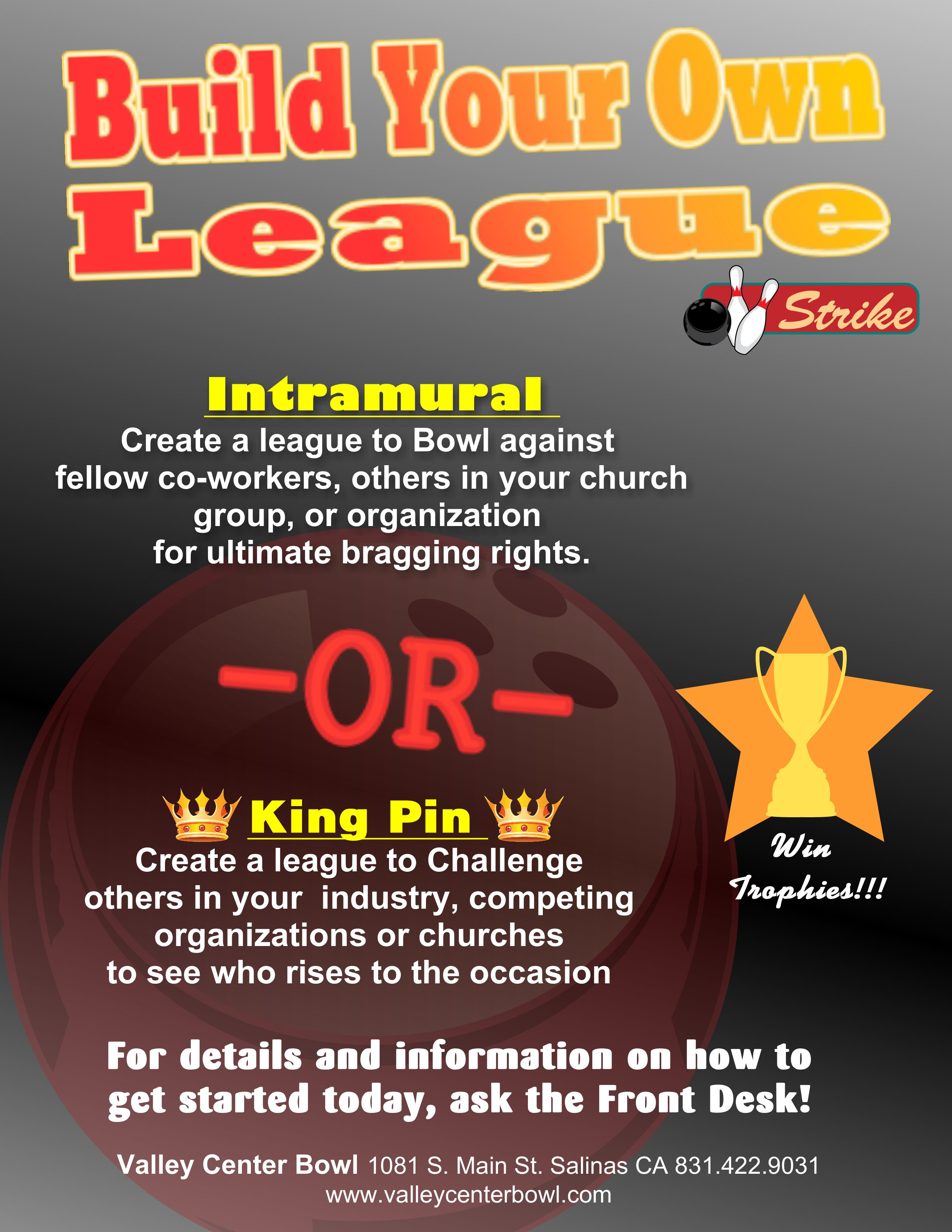 Build Your Own Leage Table Tent Bowling Alley Salinas California - Create table tents